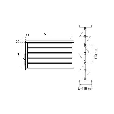 przepustnice wielopłaszczyznowe aluminiowe do kanałów prostokątnych 2