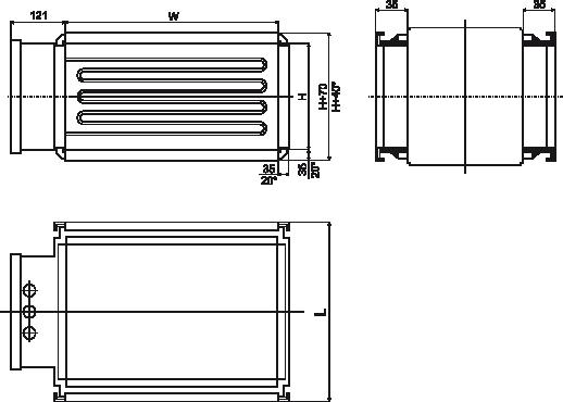 kanałowe nagrzewnice elektryczne EKS wymiary