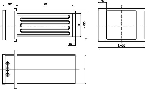 kanałowe nagrzewnice elektryczne EKS wymiary 2
